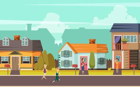 Landelijke straat orthogonale achtergrond met huisjes spelen kinderen en communiceren buren platte vector illustratie