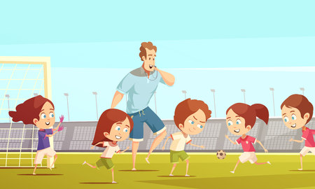 Kids sport cartoon vector illustration with soccer  team playing on football field of stadium under coach management