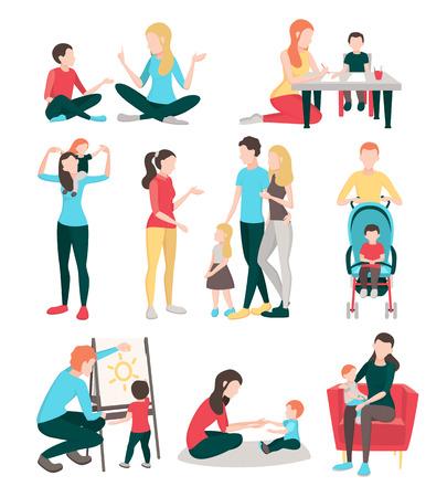 Niñeras personas colección de imágenes plana con caracteres humanos aislados de los miembros de la familia jóvenes niños y enfermeras ilustración vectorial Ilustración de vector