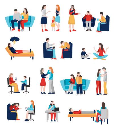 Psicólogo, asesoramiento, colección de personas, de, plano, aislado, caracteres humanos, de, miembros de la familia, comunicarse, con, sofá, doctores, vector, ilustración