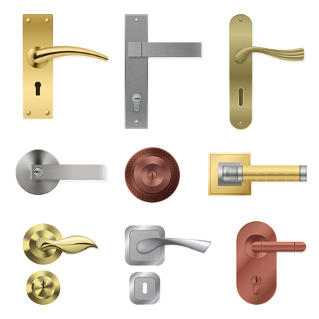 Realistic door handle collection with isolated metal lever images of different shape and colour with keyholes vector illustration
