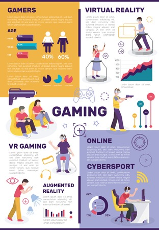 Gamers people flat infographics with pictograms images of people with gadgets joysticks and editable text paragraphs vector illustration