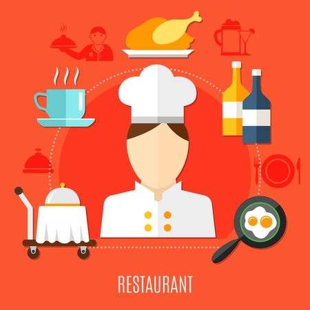 Restaurant business in hotel decorative icons set with waiter figurine truck with hot dish frying pan with scrambled eggs vector illustration
