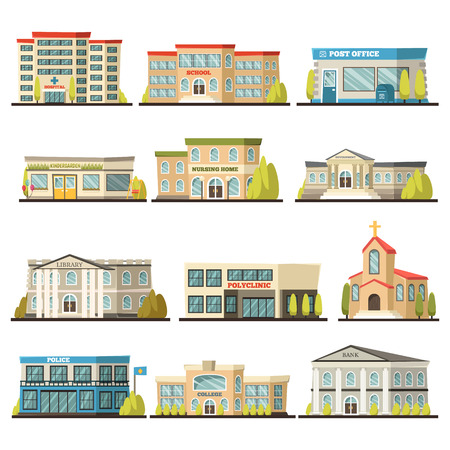 Colored isolated municipal buildings icon set with post office polyclinic college bank library hospital buildings descriptions vector illustration Çizim