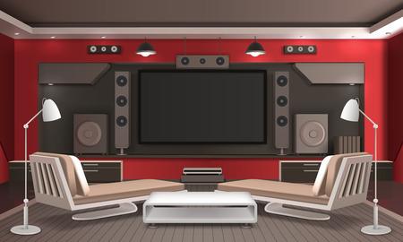 Home theater interieur 3d ontwerp met audio video systeem, tafel en banken op grijze vloer vector illustratie Stock Illustratie