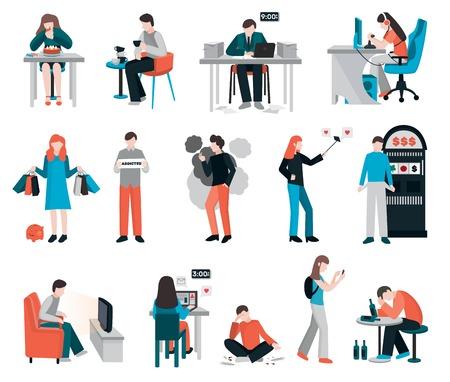 Verslavingen mensen platte afbeeldingen verzameling van geïsoleerde menselijke personages hun verderfelijke gewoonten verslavingen en drugsmisbruik vector illustratie