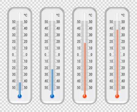 屋外屋内摂氏赤と異なるレベル アルコール気象温度計セット透明青背景のリアルなベクター イラスト