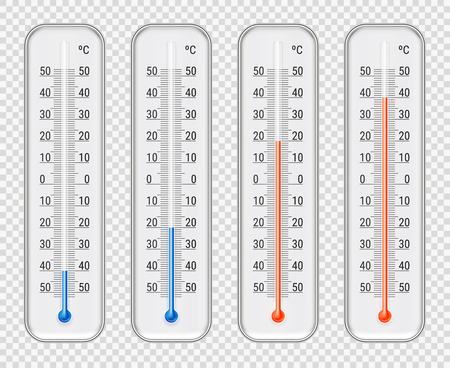 Outdoor indoor celsius red and blue different level alcohol meteorological thermometers set transparent background realistic vector illustration Illustration