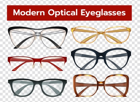 Classic modern optical eyeglasses with colorful frames for men and women isolated on transparent background realistic vector illustration Ilustracja