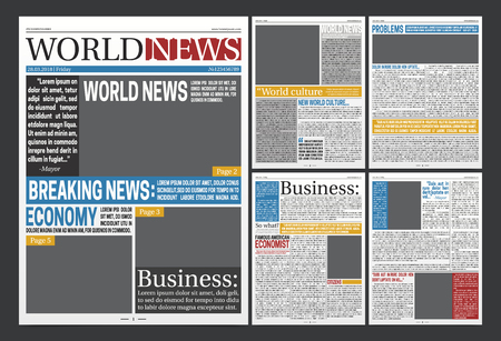 Newspaper online template design with world business news economy headlines and blank spaces for images realistic vector illustration