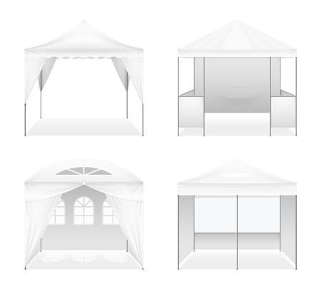 Set of realistic outdoor folding tents of various design including arched windows, domed roof isolated vector illustration