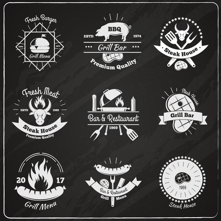 Steakhouse vintage emblems chalkboard set with flat images of fresh meat burgers and dishes with text vector illustration