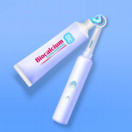 Modern electric toothbrush and tube of toothpaste on blue background realistic vector illustration