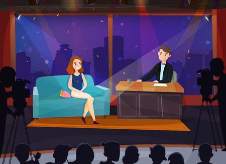 Sorridente partecipante femminile in live talk show fumetto illustrazione vettoriale Vettoriali