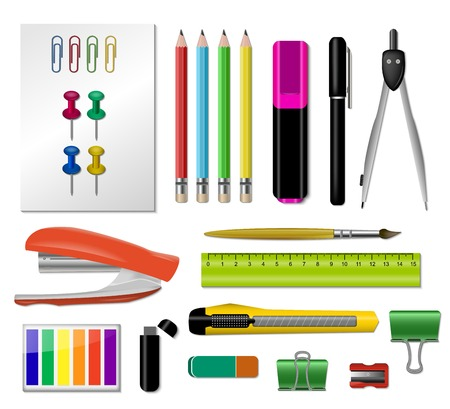 Realistic stationery icon set with stapler pair of pencils handles button rulers vector illustration Ilustração
