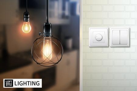 Affiche avec lampes dans un style loft sur fond flou et interrupteurs sur le mur de briques blanches illustration vectorielle Banque d'images - 86999558