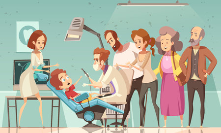 Funny cartoon scene in dentist office with doctor nurse baby in armchair his parents and grandparents vector illustration Illustration