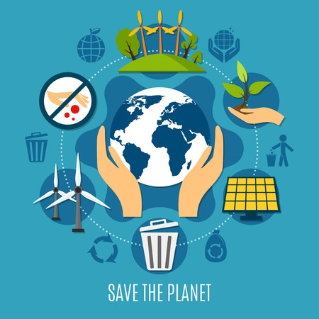Save the planet concept with ecology and pollution symbols flat vector illustration