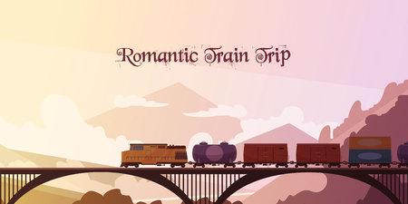 Ilustración de vector plano romántico viaje de tren con el tren que pasa sobre el puente en el fondo del paisaje de montaña Foto de archivo - 86999566