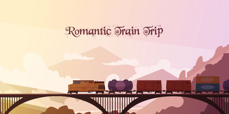 Romantic train trip flat vector illustration with railway train passing over bridge at mountain landscape background