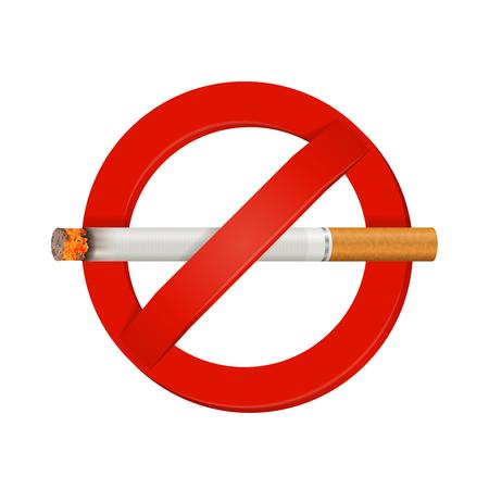屋内・屋外施設喫煙安全標識くすぶっているタバコのベクトル図と現実的な鮮やかな赤ではないです。