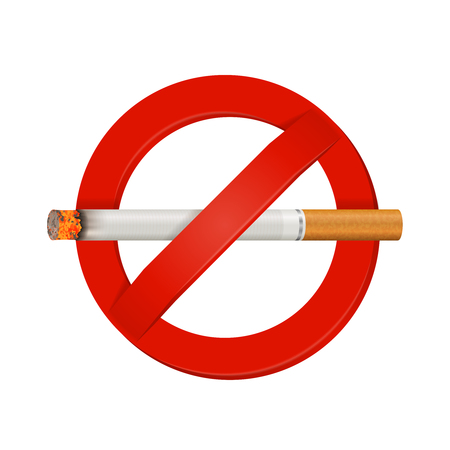 Indoor and outdoor facility no smoking safety sign bright red realistic with smoldering cigarette vector illustration Reklamní fotografie - 86999567