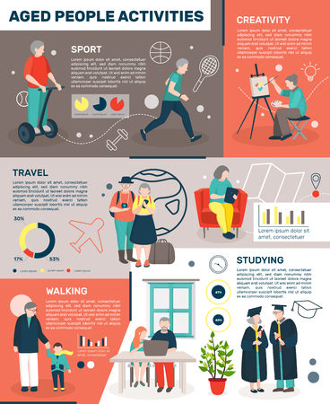 Modern aged people flat infographics with doodle style images of elderly people creative lifestyle with editable text vector illustration