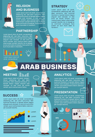 paragraphs: Arab business people infographics with doodle human characters in national islamic clothes with editable text paragraphs vector illustration
