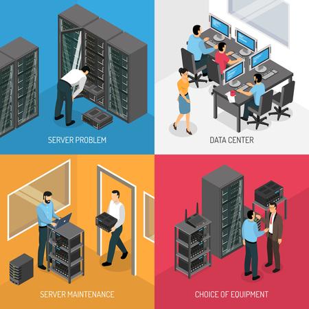 Concepto de diseño de Datacenter 2x2 de composiciones cuadradas que describe la elección del equipo y el trabajo en la ilustración de vector isométrica de mantenimiento del servidor