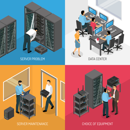 Datacenter 2x2 design concept of square compositions describing choice of equipment and work in server maintenance isometric vector illustration