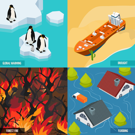 Climate warming isometric design concept with ice melting, ship in desert, forest fires, flood isolated vector illustration