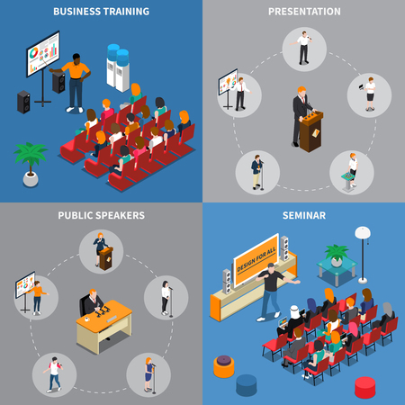 Isometric design concept with public speakers during business training, presentation, seminar and audience isolated vector illustration