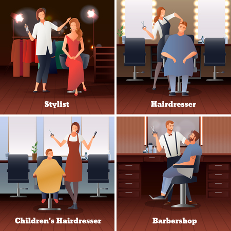 Hairdresser stylist barber gradient flat people 2x2 design concept with doodle human characters and hairdressing salon interior vector illustration