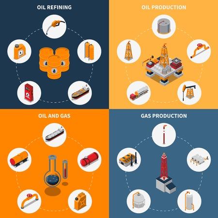 Isometrisch ontwerpconcept met olieproductie en raffinage, gaswinning en opslag, brandstofvervoer geïsoleerde vectorillustratie Stock Illustratie