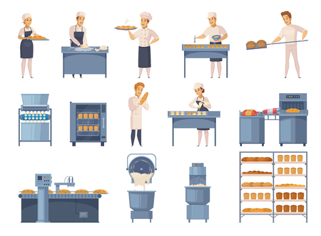 Bakery set of cartoon icons with factory workers, industrial equipment, flour products on shelves isolated vector illustration Illustration