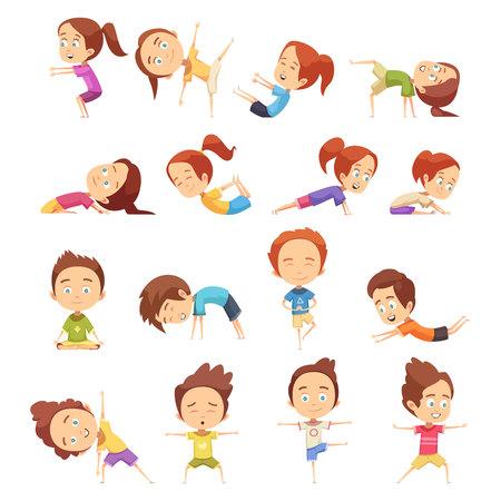 De decoratieve die pictogrammen van de jonge geitjesyoga met leuke beeldverhaalkinderen worden geplaatst in verschillende yoga stelt vlakke vectorillustratie