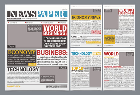 Newspaper online template design poster with world top business news economy and technology headlines realistic vector illustration Stok Fotoğraf - 87287389