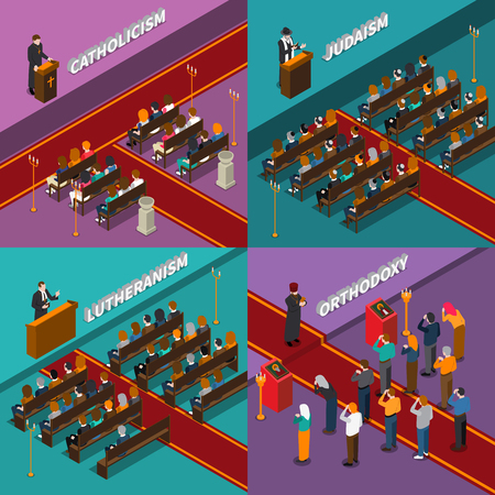 Religion leaders and people believers isometric design concept including catholicism, orthodoxy, judaism, lutheranism isolated vector illustration