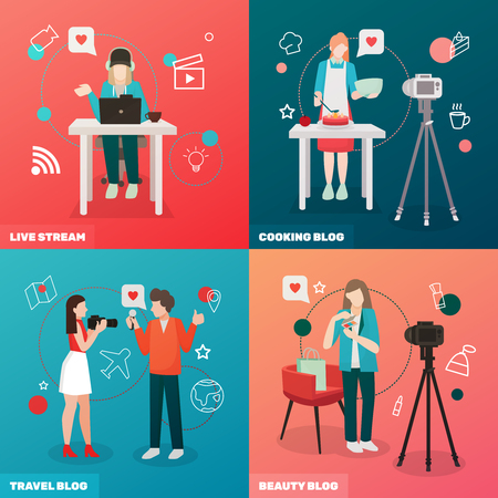 Bloggers people flat 2x2 design concept with compositions of human characters camera broadcast and love pictograms vector illustration Illustration