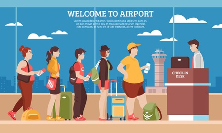 Airport queue with people room and registry service flat vector illustration Çizim