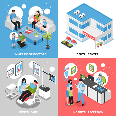 Dental center 2x2 isometric design concept set with hospital reception stomatologist care and parents soothing their little children vector illustration