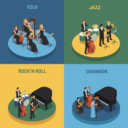 Orchestra playing various music rock n roll chanson folk and jazz isometric 2x2 concept isolated on colorful backgrounds. vector illustration  イラスト・ベクター素材