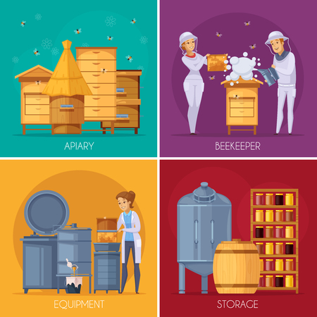 Apiary production concept 4 cartoon concept square with  beehives beekeepers collecting honey and storage equipment isolated vector illustration Illustration