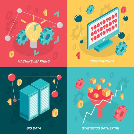 Concept d'apprentissage machine isométrique 2 x 2 avec des images colorées d'icônes conceptuelles de boîtier d'affichage réseau informatique vector illustration Banque d'images - 87287402