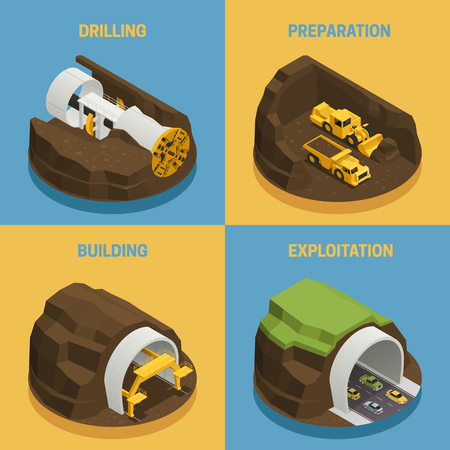 Stages of tunnel construction process isometric 2x2 icons set isolated on colorful backgrounds vector illustration