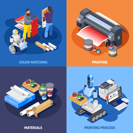 Printing house polygraphy industry isometric 2x2 design concept with images of plotter materials computer robots and workers vector illustration Illustration