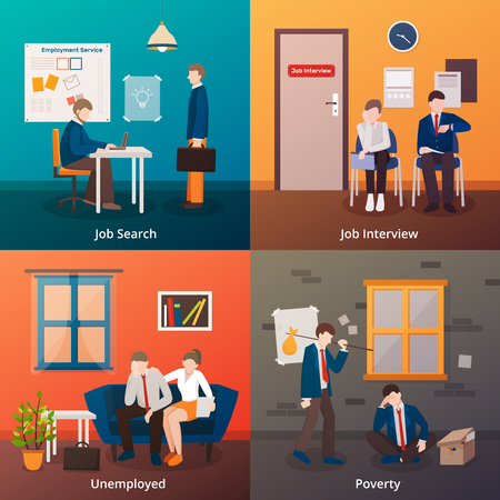 Unemployed people flat 2x2 design concept with faceless doodle human characters of unhappy dismissed office workers vector illustration Illustration