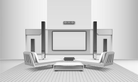 Modern binnenhuisbioscoopinterieur in witte tinten met display en luidsprekers, banken en journaaltafel. Stock Illustratie