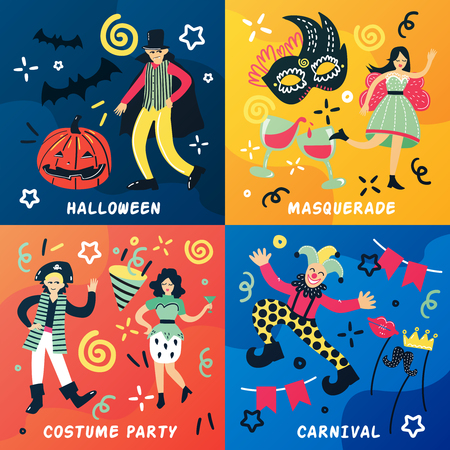 Costume party doodle 2x2 design concept with cartoon style flat people characters and drawn decorative symbols vector illustration