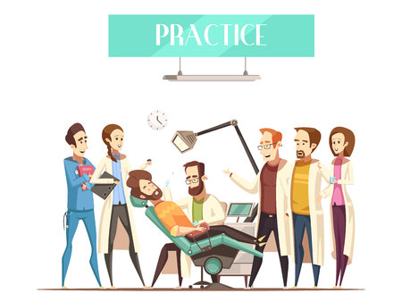 Dentist practice flat vector illustration in cartoon style with students watching as doctor treating patient